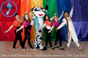 Our next bright and colourful promotional photo...Featuring Ash Mukherjee, Khushi the Cow and some of Performing Arts dance students at the Abbey school. Thanks to the Abbey school for their on-going support.